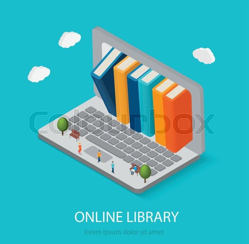 800x786 Flat Isometric Online Books Shop, Digital Library Concept. Laptop