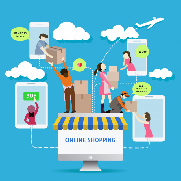 626x626 Flat Style Mobile Online Store E Commerce Icons. Infographics