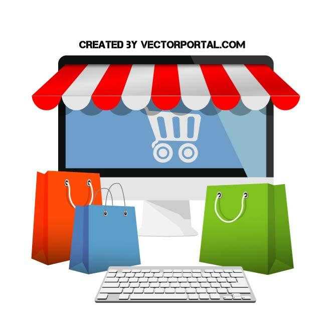 660x660 Online Shopping Vector Illustration