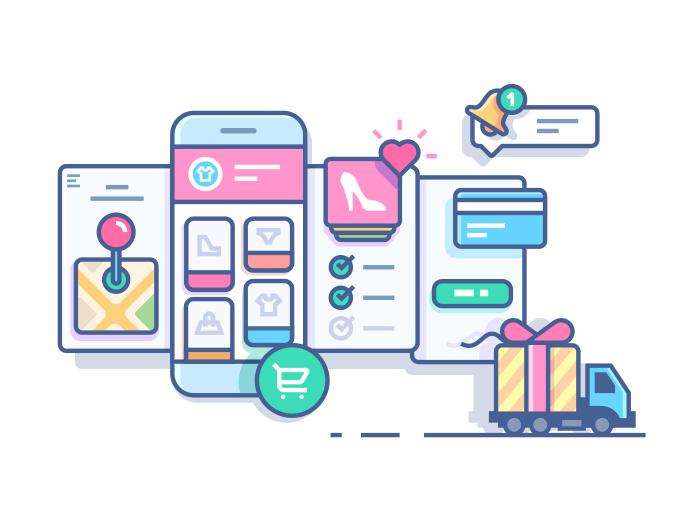 700x525 Online Mobile Shop Line Illustration