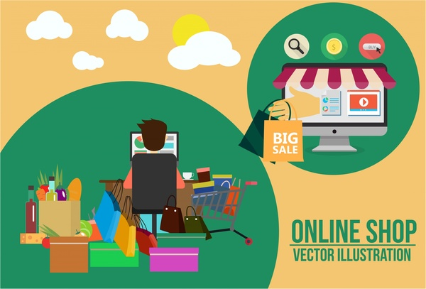 600x407 Online Shopping Concept Male And Various Goods Illustration Free