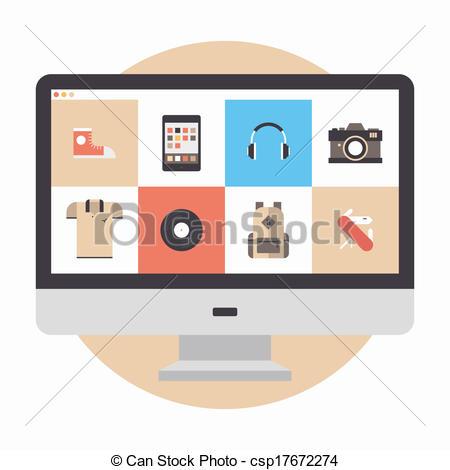 450x470 Online Store Flat Illustration. Flat Design Modern Vector