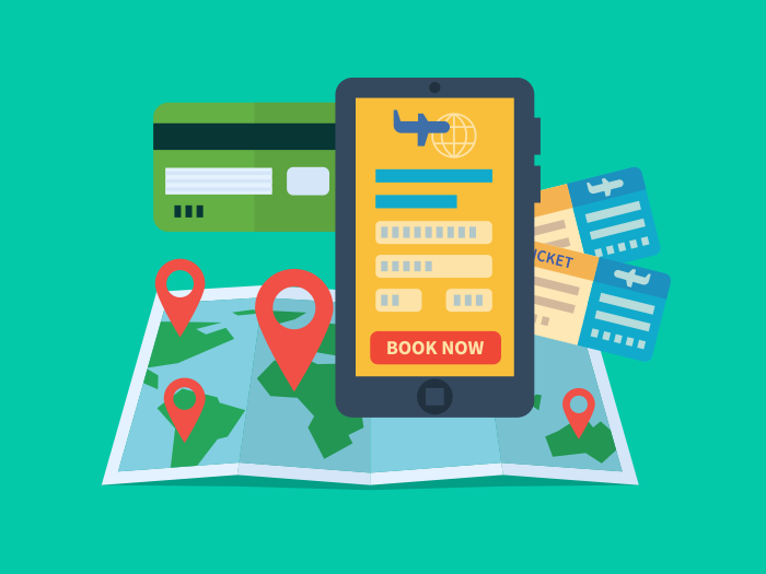 700x525 Online Ticket Booking Flat Illustration