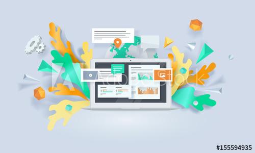 500x300 Creative Concept Banner. Vector Illustration For Digital Marketing