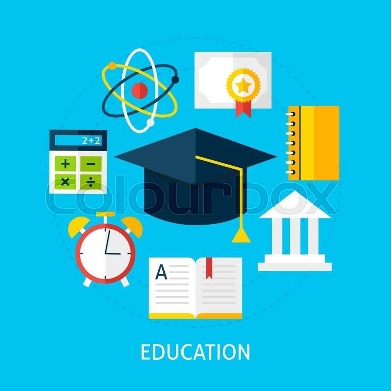 800x800 Education Concept. Flat Design Vector Illustration. Online