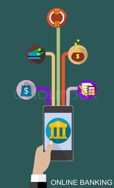483x800 Flat Design Vector Illustration Concepts Of Online Banking Service