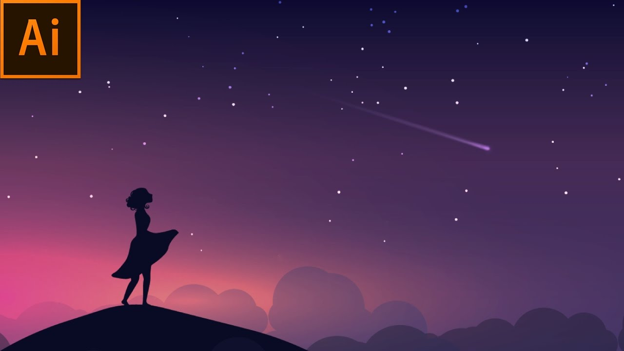 1280x720 Night Scene Vector Illustration Adobe Illustrator Tutorial
