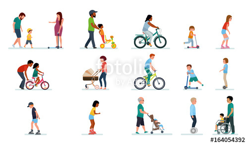 500x292 People Generation. People Of All Ages In The Park. Set Of