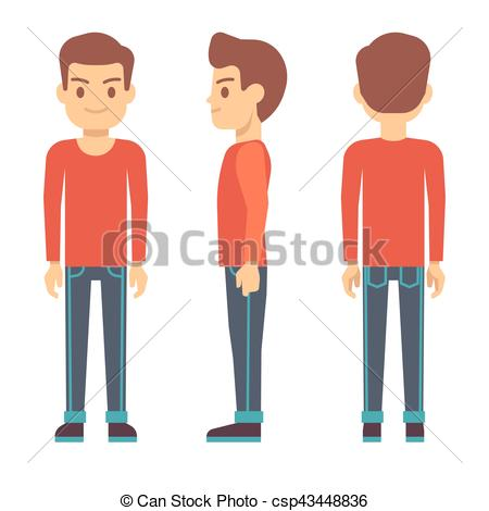 450x470 Standing Young Man, Boy Character In Front, Back, Side View In
