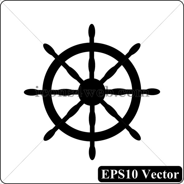 600x600 Nautical Wheel Black Icon. Eps10 Vector.
