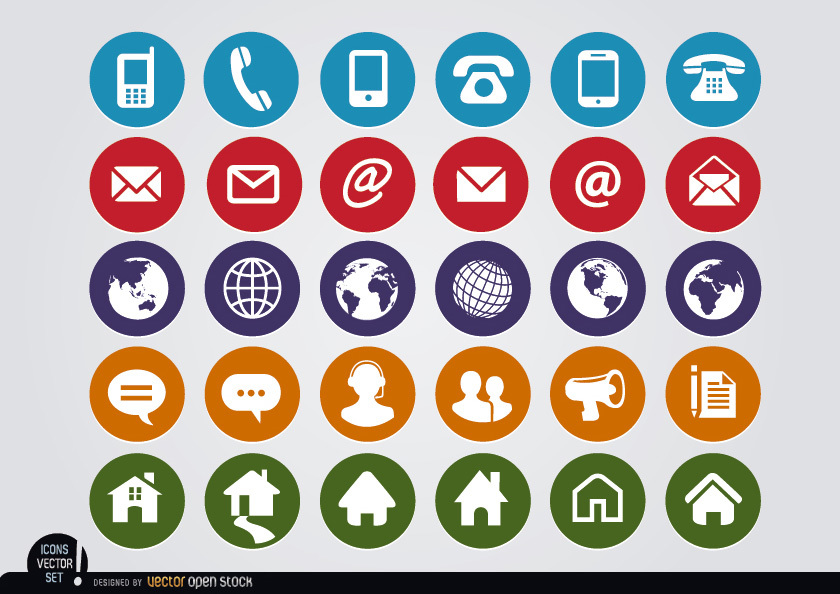 840x594 Round Web Contact Icons Set