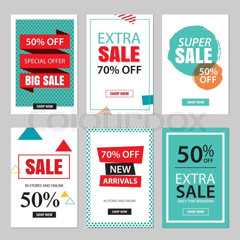 800x800 Set Of Sale Website Banner Templates.social Media Banners For