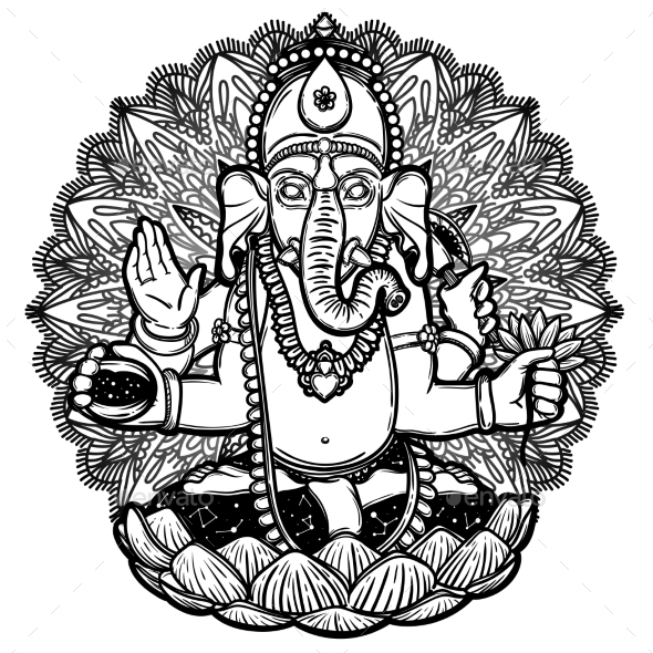 590x590 Vector Illustration Of Ganesha Hindu God Elephant By Vavavka