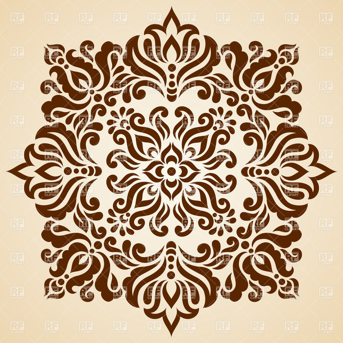 1200x1200 Brown Square Made Of Abstract Floral Mosaic Vector Image Vector