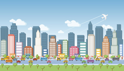 500x286 City Landscape Vector Free Vector Download (2,546 Free Vector) For