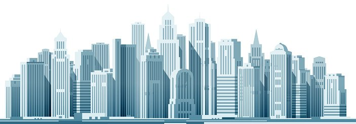 703x246 Modern City With Construction, Building Vector Illustration Stock