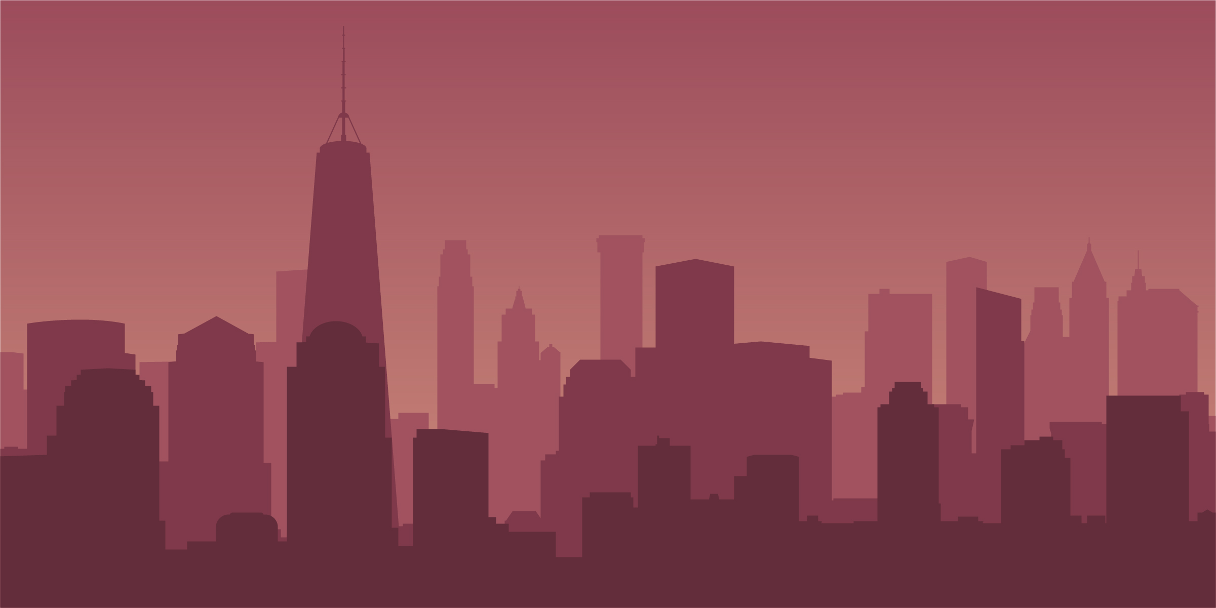 2401x1201 New York City Skyline Vector Free Download