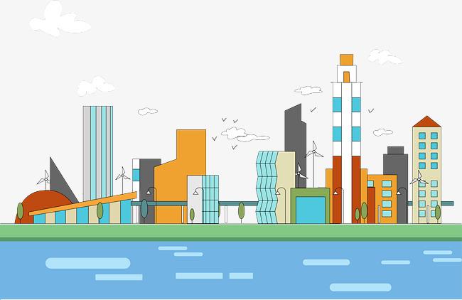 650x422 Cartoon Vector Illustration Linear City, Cartoon Vector, City