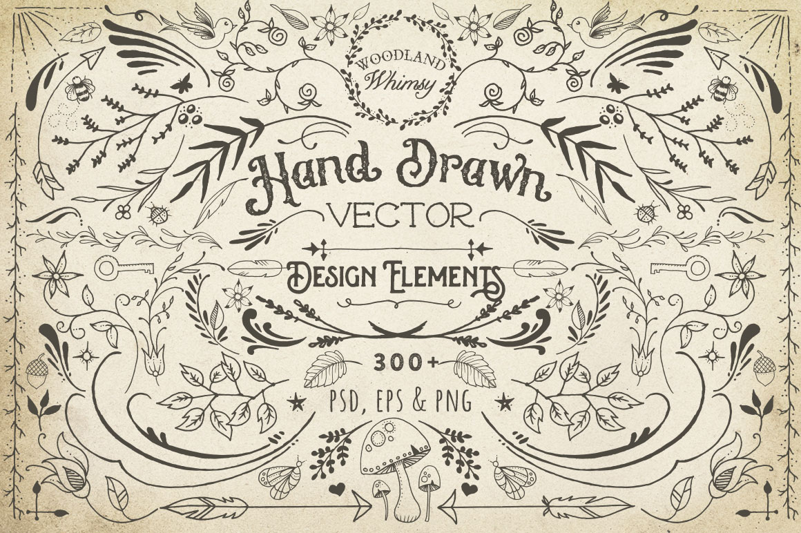 1160x772 Hand Drawn Vector Design Elements