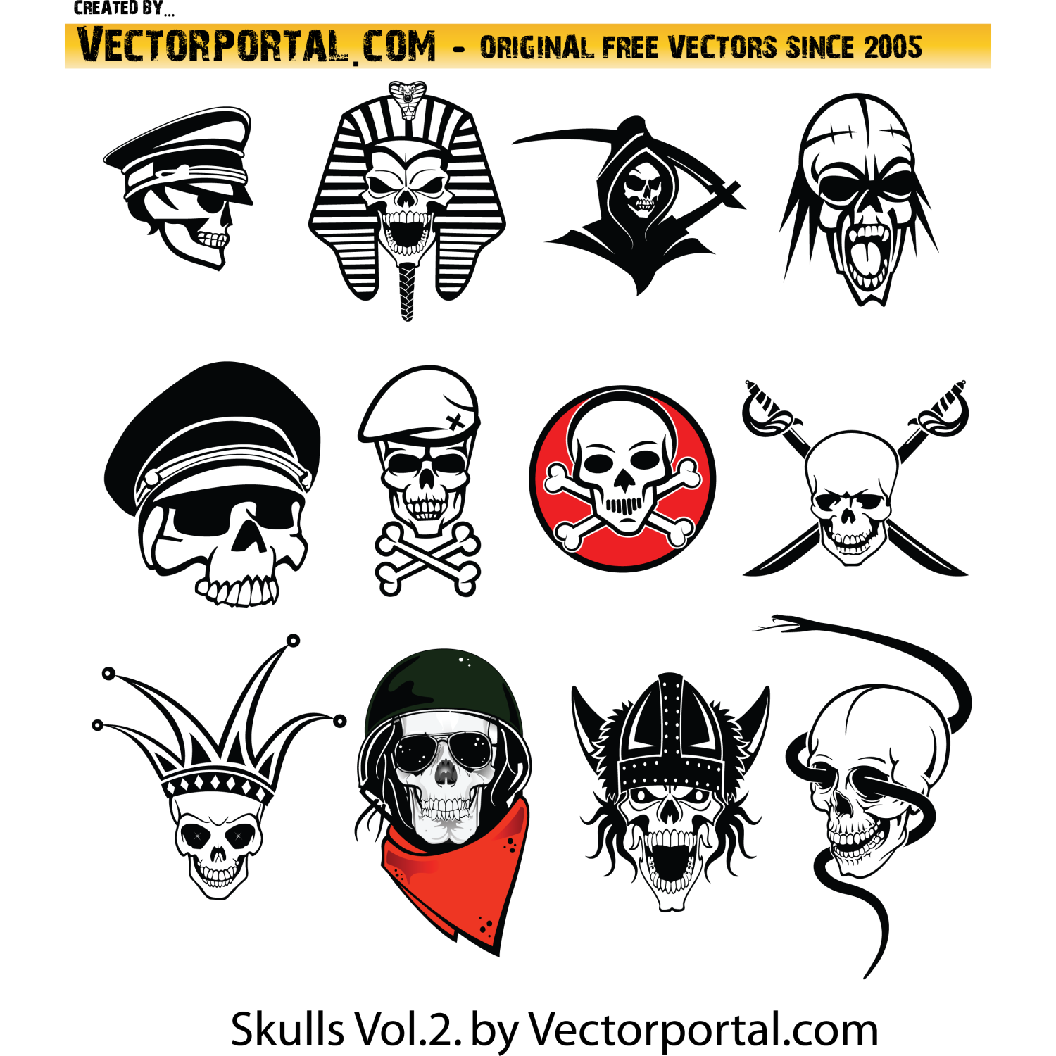 1500x1500 Vector For Free Use Free Vector Skulls Pack