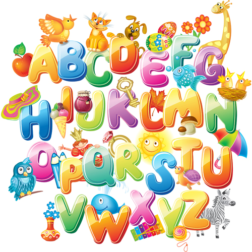 500x500 Colored Alphabet With Children Literacy Vector 02 Free Download