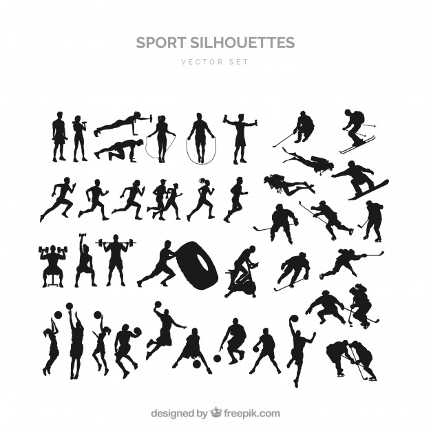 626x626 Sports Silhouette Set Vector Free Download