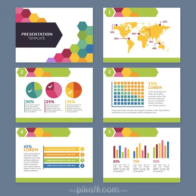 626x626 Ai] Colored Hexagonal Business Presentation Vector Free Download