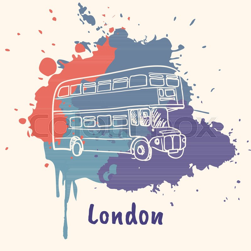 800x800 Bright Impressions In London. Double Decker Bus Doodle Sketched