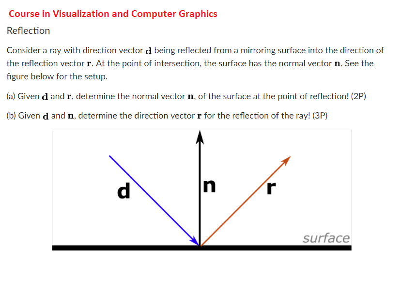 828x585 Solved Course In Visualization And Computer Graphics Refl