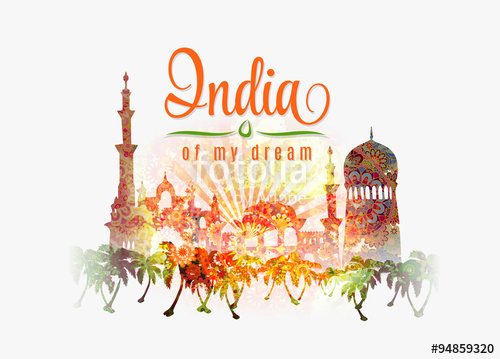 500x359 India Of My Dream. Illustration Of India In Saffron And Green