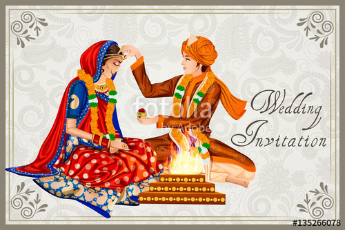 500x334 Indian Couple In Wedding Maang Bharai Ceremony Of India Stock