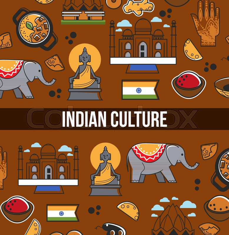 778x800 Indian Culture Symbols And Vector India Landmarks. Vector Poster