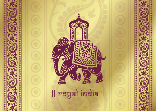 500x357 Indian Patterns With Elephants Vector Set 02 Free Download
