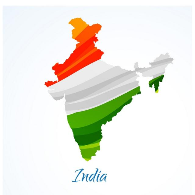640x640 Map Of India With Tricolor Vector Design Illustration, Map Vector