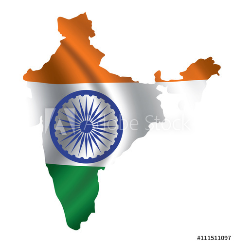 481x500 Vector India Flag Blowing In The Wind In India Map Shape.
