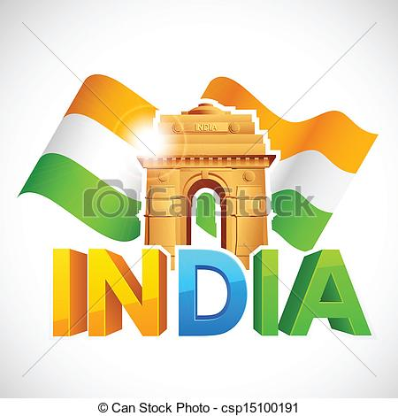 450x470 Illustration Of India Gate With Tricolor Flag.