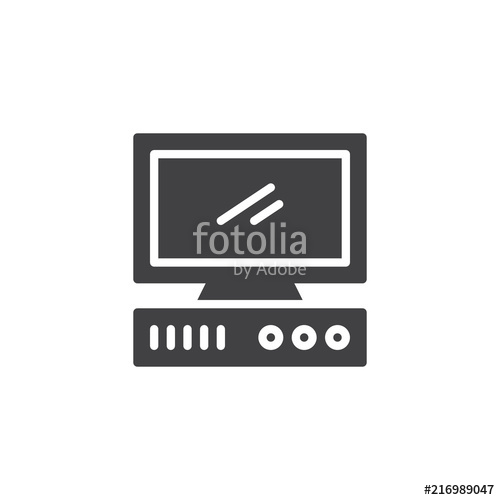 500x500 Old Computer Vector Icon. Filled Flat Sign For Mobile Concept And