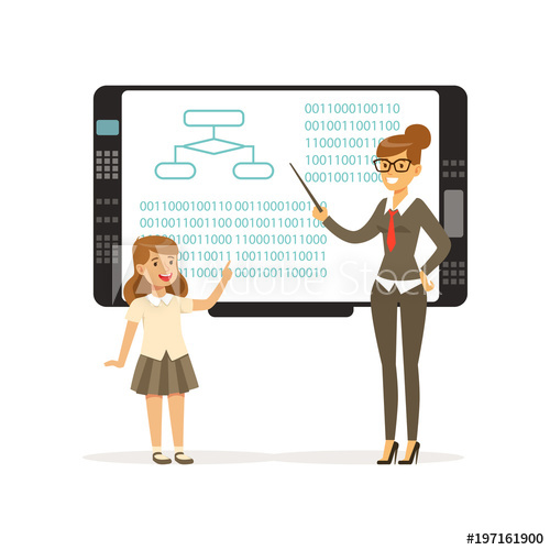 500x500 Smiling Teacher Woman Teaching Girl With An Interactive Board