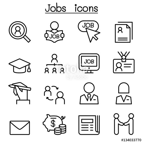 500x500 Jobs Icon Set In Thin Line Style Stock Image And Royalty Free