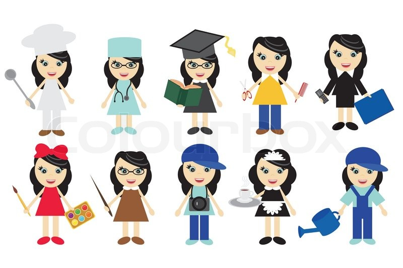 800x533 Nice Young Girls Of Different Jobs Stock Vector Colourbox