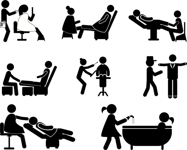 600x483 Service Jobs Icons Illustration With Silhouette Style Free Vector