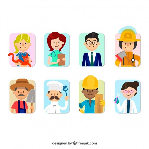 626x626 Fun Variety Of Jobs Avatars Vector Free Download