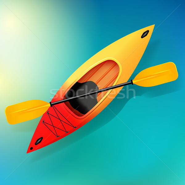 600x600 Kayak And Paddle Vector On Water Illustration Of Outdoor