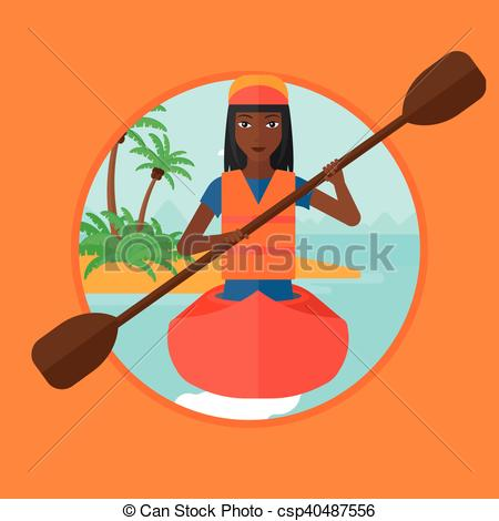 450x470 Woman Riding In Kayak Vector Illustration. An African Sports Woman