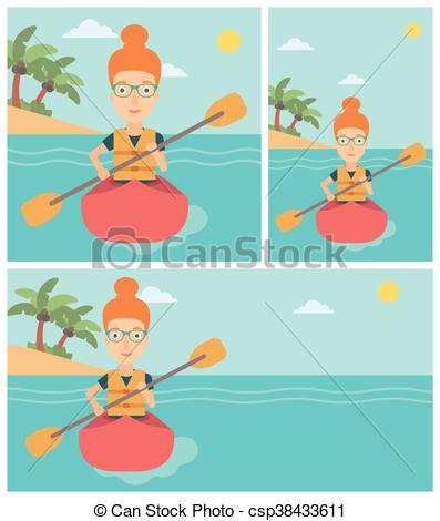 397x470 Woman Riding In Kayak Vector Illustration. Sports Woman Riding In