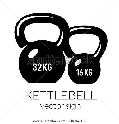 450x470 Kettlebell 32 And 16 Kg. Best Black And White Illustration