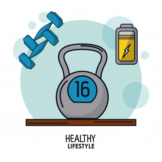 626x626 Kettlebell Weight And Dumbbells And Battery Icon On Top Vector