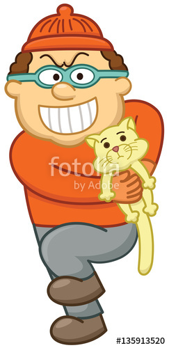 243x500 Pet Thief. Bad Guy With Mask Kidnapping Pet Cartoon Illustration
