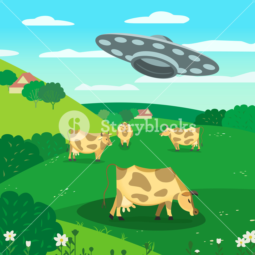 1000x1000 Ufo Abducts Cow. Space Aliens Kidnapping Cattle. Flying Saucer