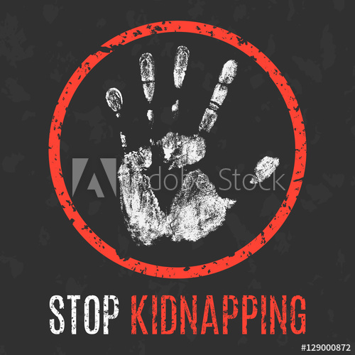 500x500 Vector Illustration. Global Problems Of Humanity. Stop Kidnapping